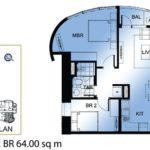 ミ カーサの2ベッドルーム64.00sqm